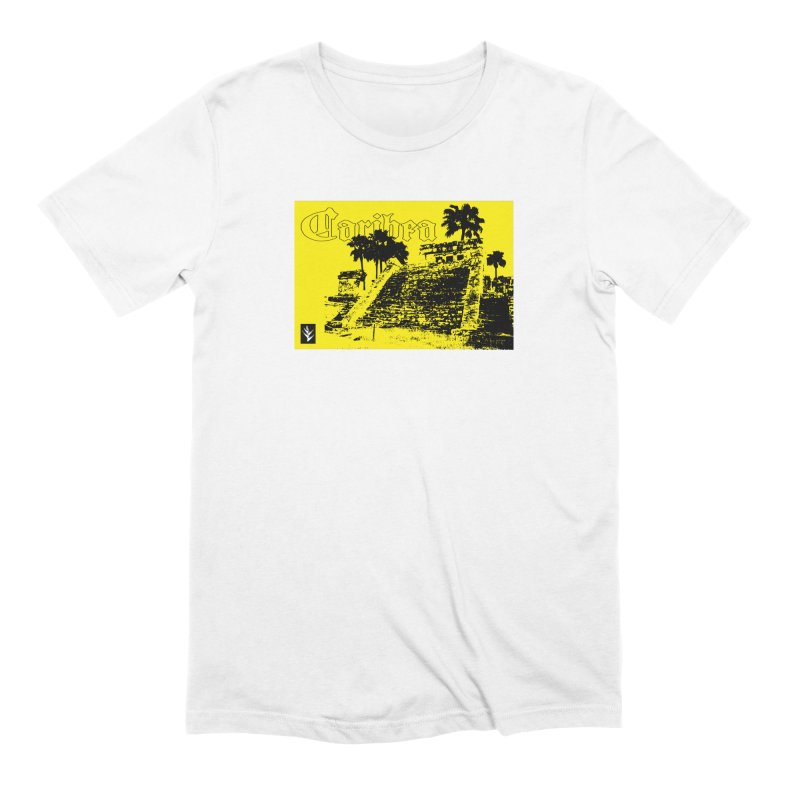 Mayan Pyramid Yellow in Men's Extra Soft T-Shirt White by Caribea