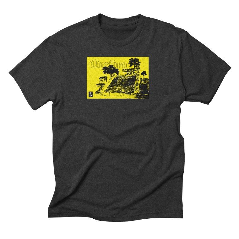 Mayan Pyramid Yellow Men's Triblend T-Shirt by Caribea