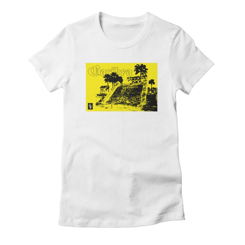 Mayan Pyramid Yellow Women's Fitted T-Shirt by Caribea