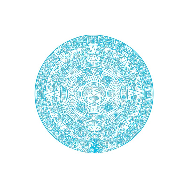 Aqua Blue Aztec Calendar by Caribea