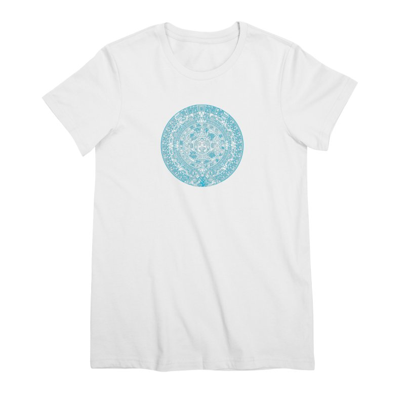 Aqua Blue Aztec Calendar Women's Premium T-Shirt by Caribea