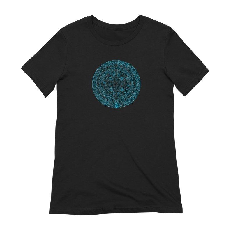 Aqua Blue Aztec Calendar Women's Extra Soft T-Shirt by Caribea