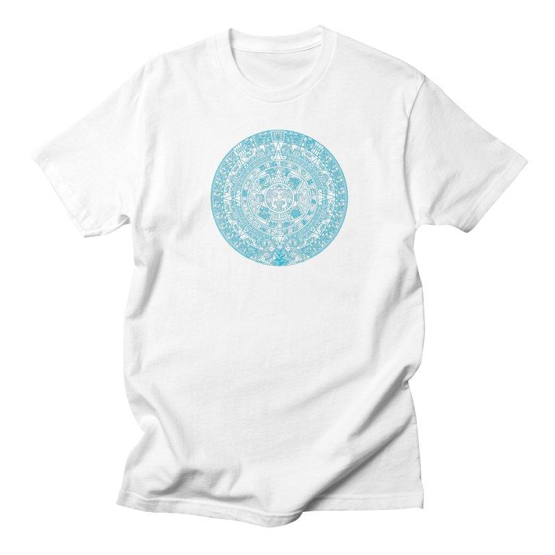 Aqua Blue Aztec Calendar Women's Regular Unisex T-Shirt by Caribea
