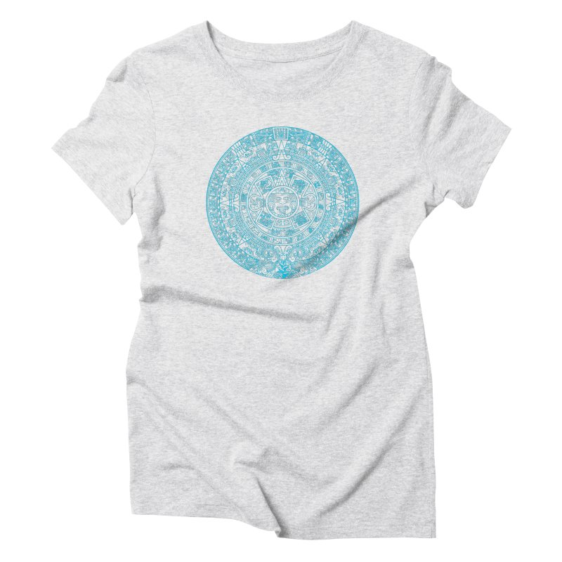 Aqua Blue Aztec Calendar Women's Triblend T-Shirt by Caribea