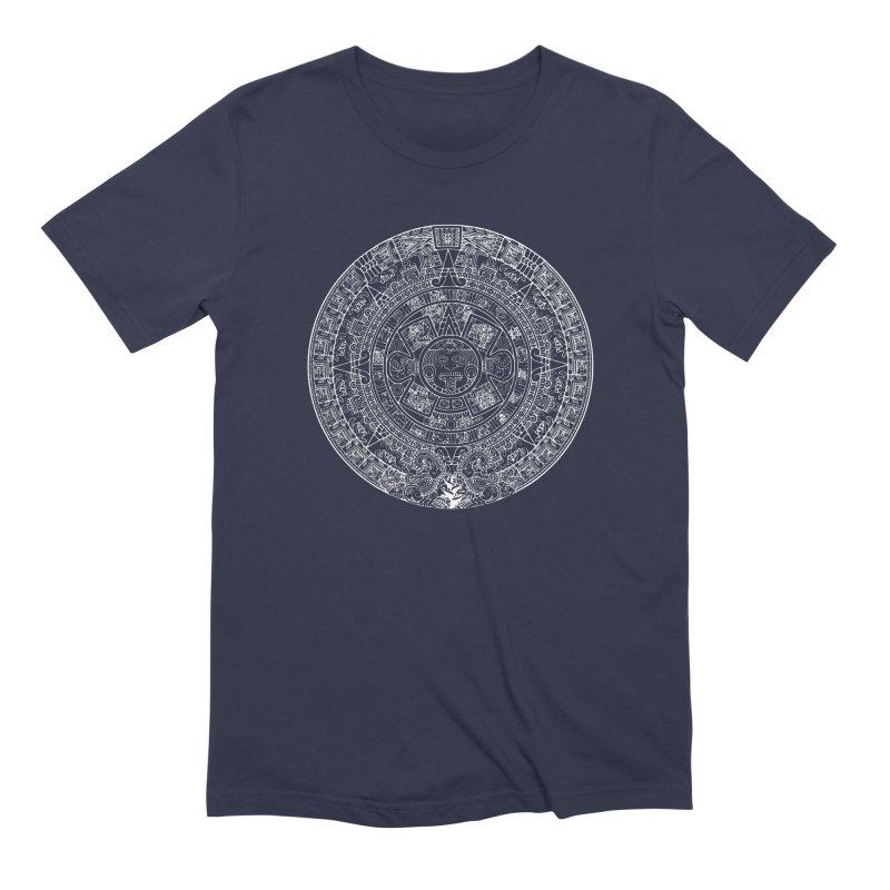 Mens Aztec Calendar White Men's Extra Soft T-Shirt by Caribea