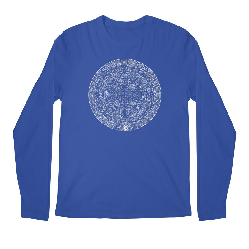 Mens Aztec Calendar White Men's Regular Longsleeve T-Shirt by Caribea