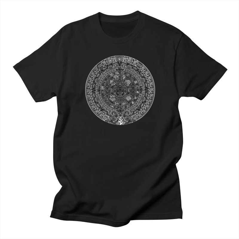 Mens Aztec Calendar White Men's Regular T-Shirt by Caribea