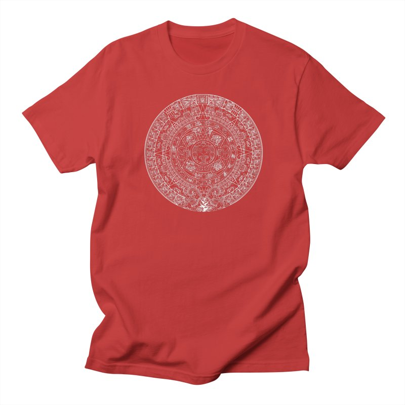 Mens Aztec Calendar White Men's T-Shirt by Caribea