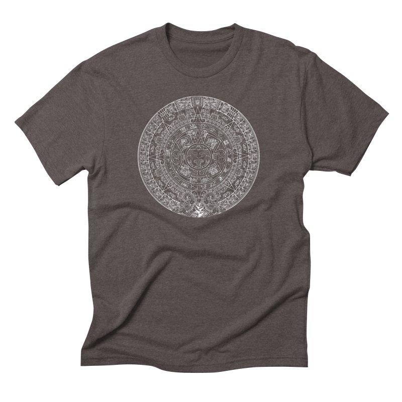 Mens Aztec Calendar White Men's Triblend T-Shirt by Caribea