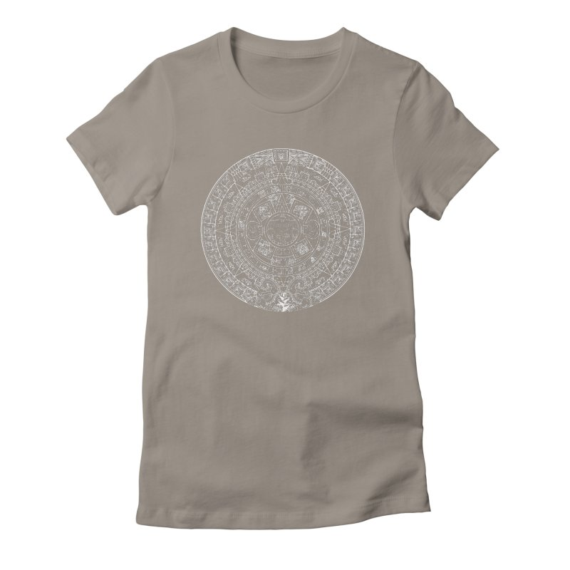 Womens Aztec Calendar white Women's Fitted T-Shirt by Caribea
