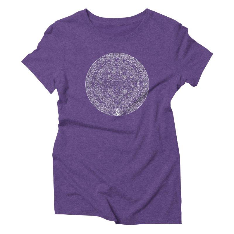 Womens Aztec Calendar white Women's Triblend T-Shirt by Caribea