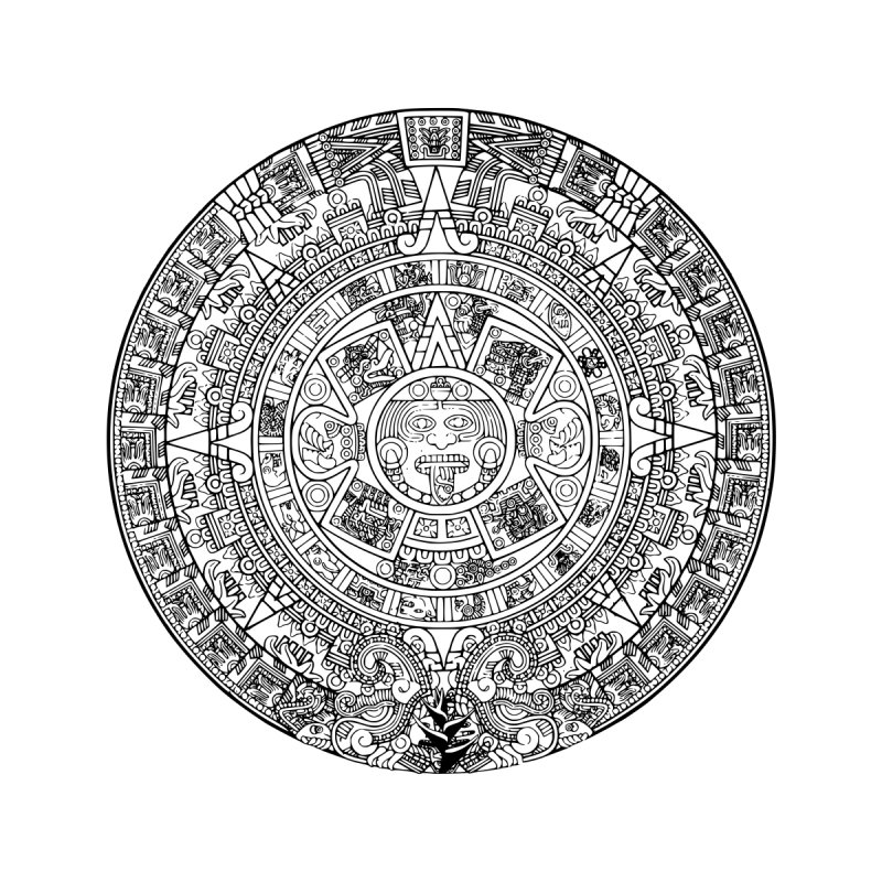 Mens Aztec Calendar Black by Caribea
