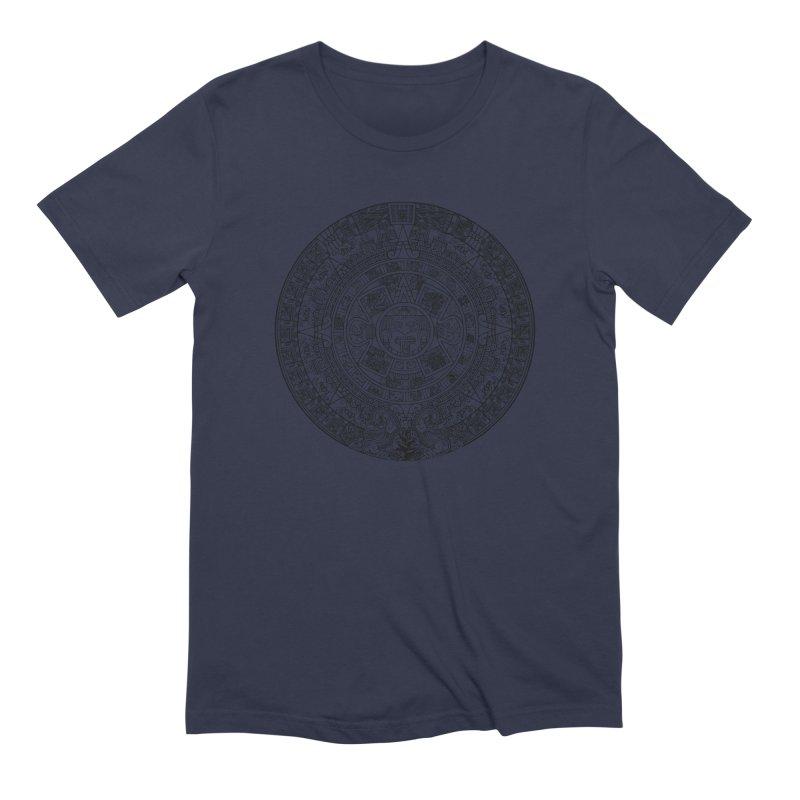 Mens Aztec Calendar Black Men's Extra Soft T-Shirt by Caribea