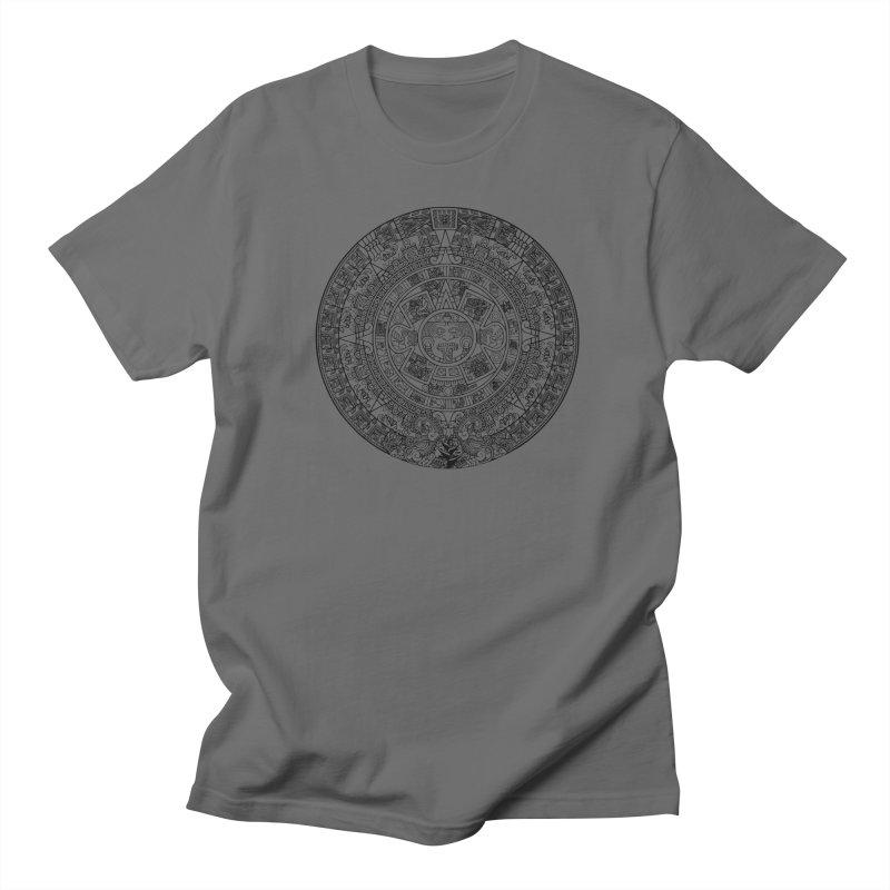 Mens Aztec Calendar Black Men's T-Shirt by Caribea