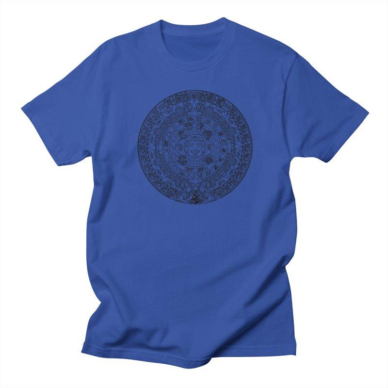 Mens Aztec Calendar Black Men's Regular T-Shirt by Caribea