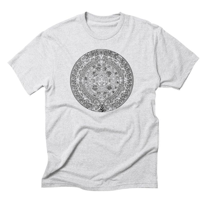 Mens Aztec Calendar Black Men's Triblend T-Shirt by Caribea