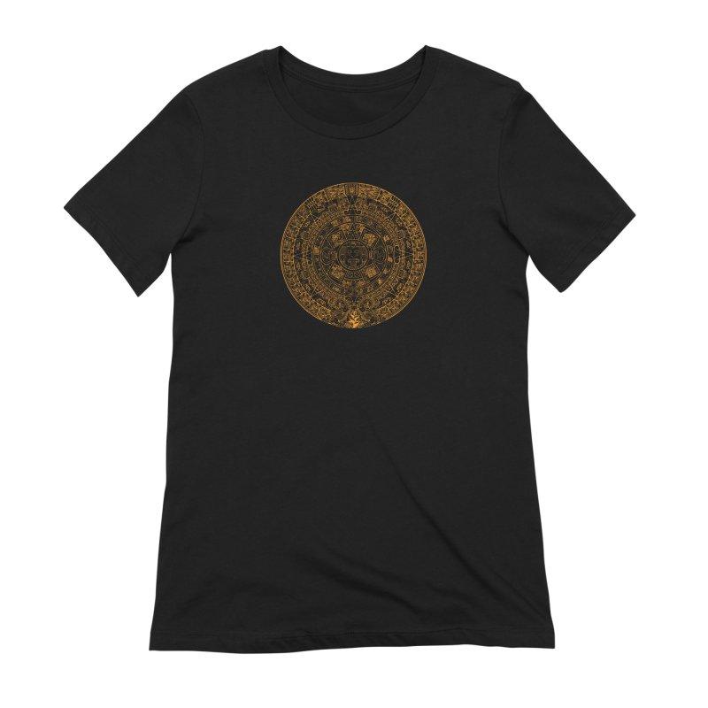 Mayan Calendar Orange Women's Extra Soft T-Shirt by Caribea