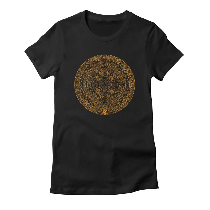 Mayan Calendar Orange Women's Fitted T-Shirt by Caribea