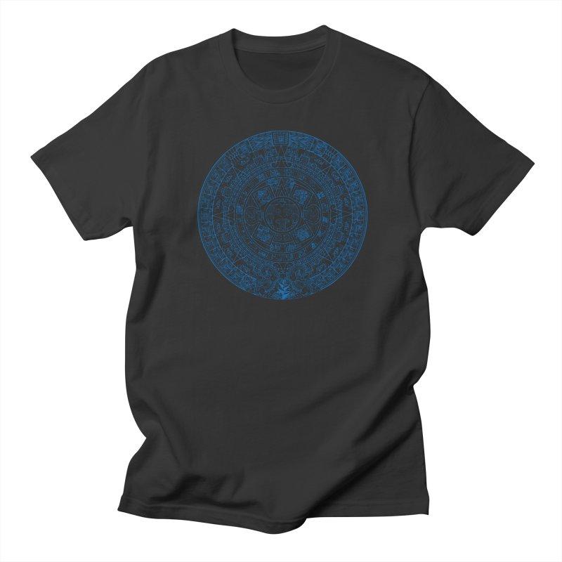Mens Blue Aztec Calendar Men's Regular T-Shirt by Caribea