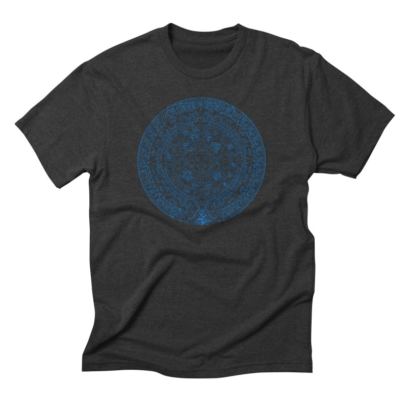 Mens Blue Aztec Calendar Men's Triblend T-Shirt by Caribea