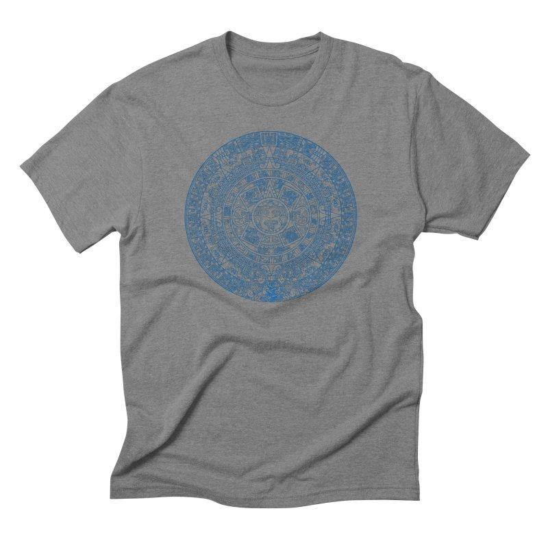 Mens Blue Aztec Calendar Men's T-Shirt by Caribea