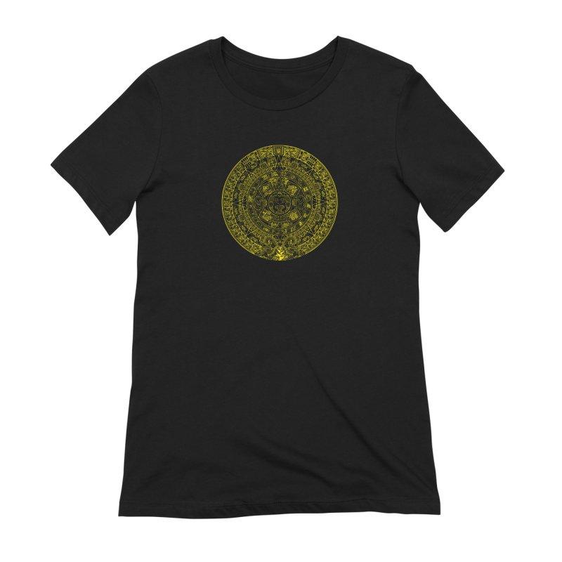 Gold Aztec Calendar Women's Extra Soft T-Shirt by Caribea
