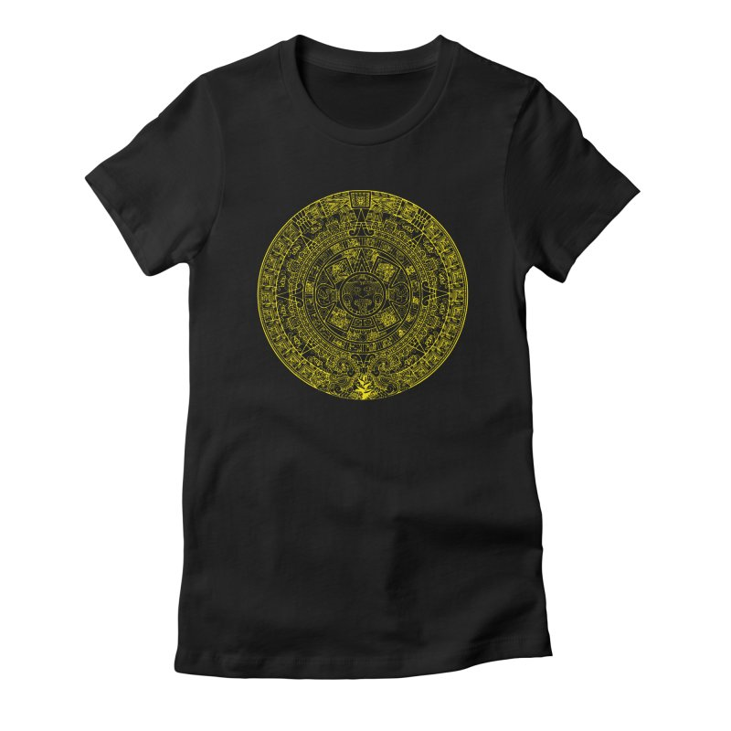 Gold Aztec Calendar Women's Fitted T-Shirt by Caribea