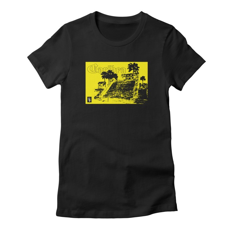 Womens Yellow Aztec Pyramid Women's Fitted T-Shirt by Caribea