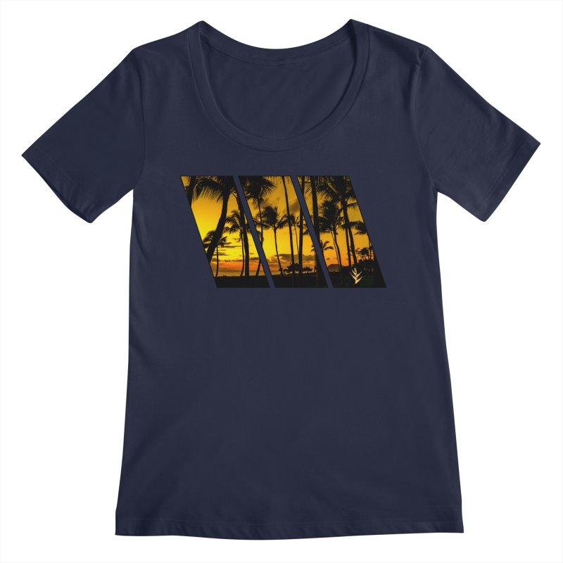 Sunset Palms Women's Regular Scoop Neck by Caribea