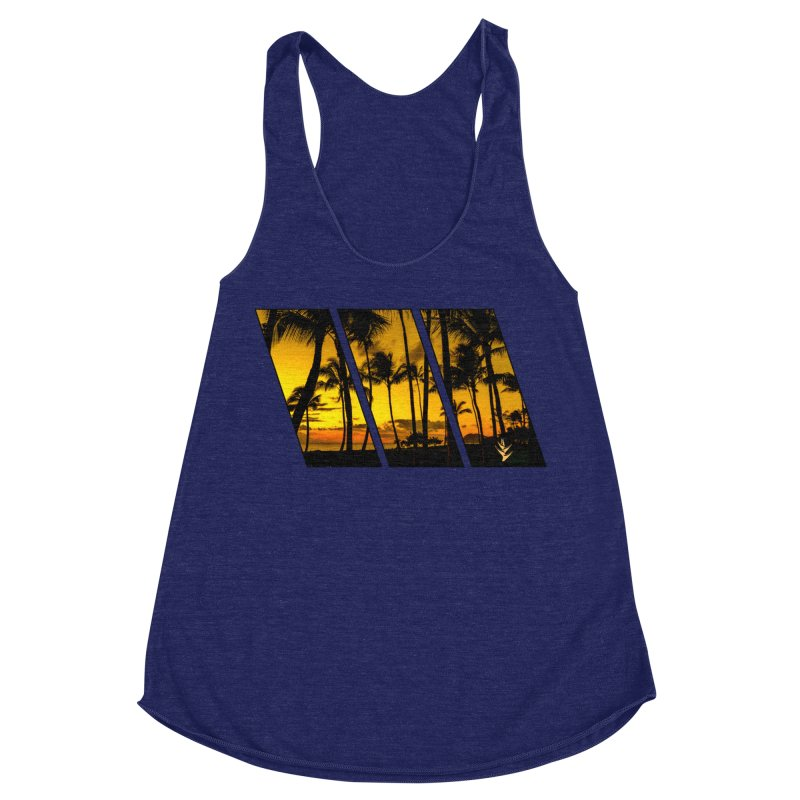 Sunset Palms Women's Racerback Triblend Tank by Caribea