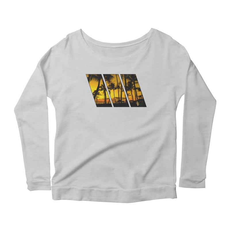 Sunset Palms Women's Scoop Neck Longsleeve T-Shirt by Caribea