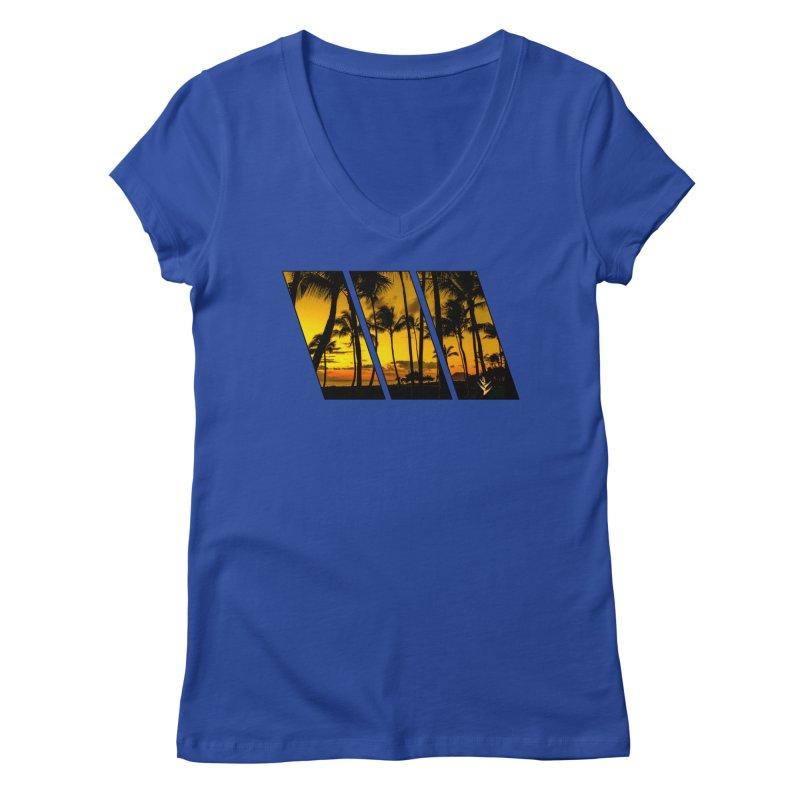 Sunset Palms Women's Regular V-Neck by Caribea