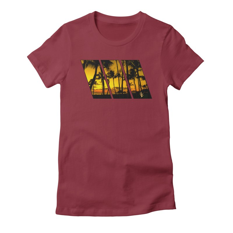 Sunset Palms Women's Fitted T-Shirt by Caribea