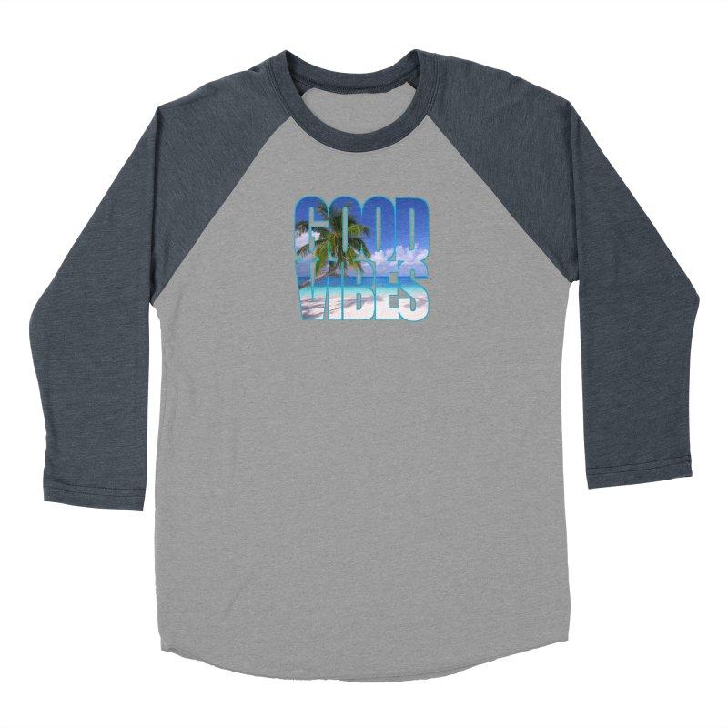 Good Vibes Women's Baseball Triblend Longsleeve T-Shirt by Caribea