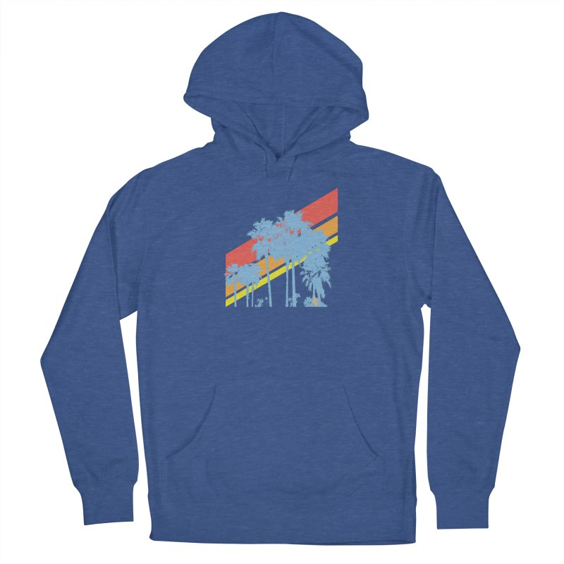 Palm Sunset Blue Women's French Terry Pullover Hoody by Caribea