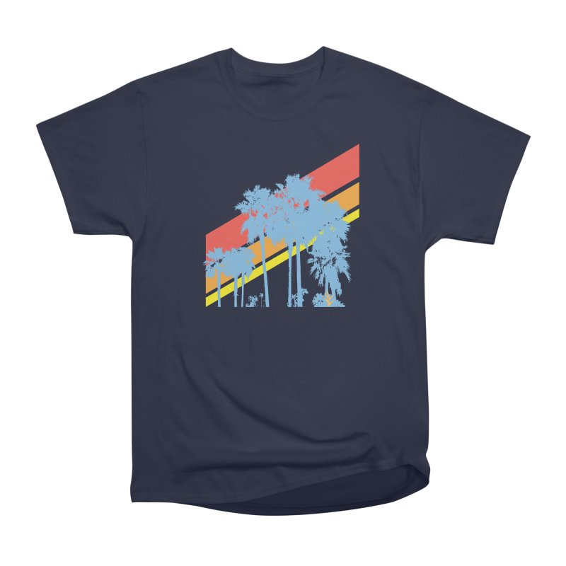 Palm Sunset Blue Men's Heavyweight T-Shirt by Caribea