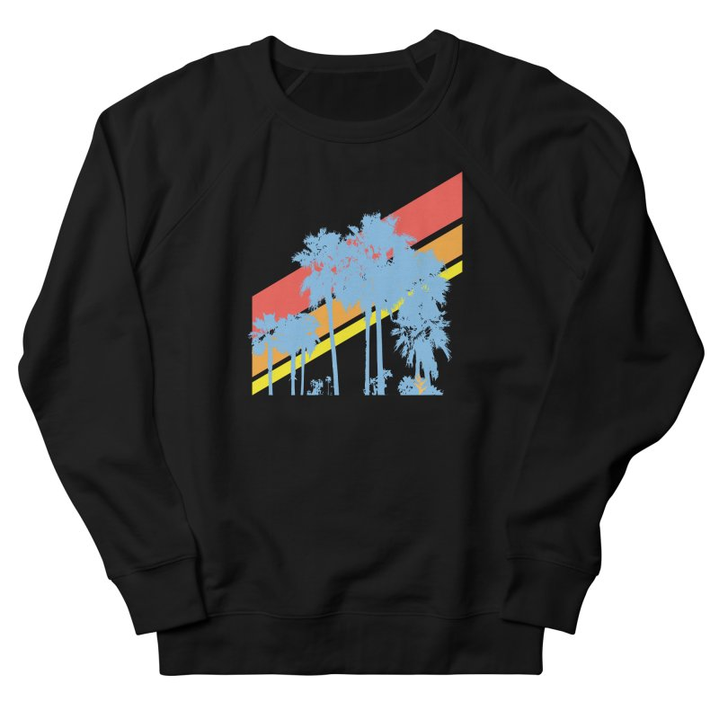 Palm Sunset Blue Women's French Terry Sweatshirt by Caribea