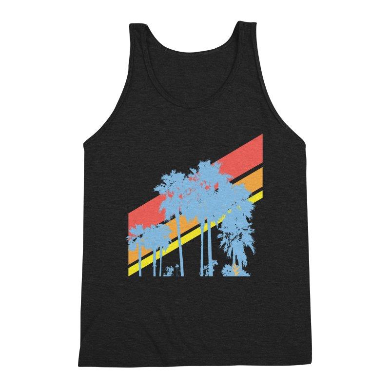 Palm Sunset Blue Men's Triblend Tank by Caribea