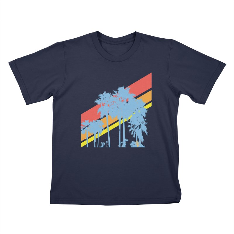 Palm Sunset Blue Kids T-Shirt by Caribea