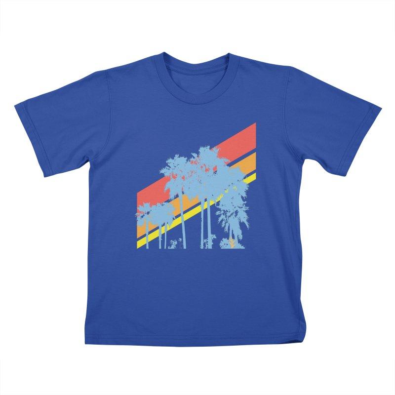 Palm Sunset Blue Kids T-Shirt by Caribea