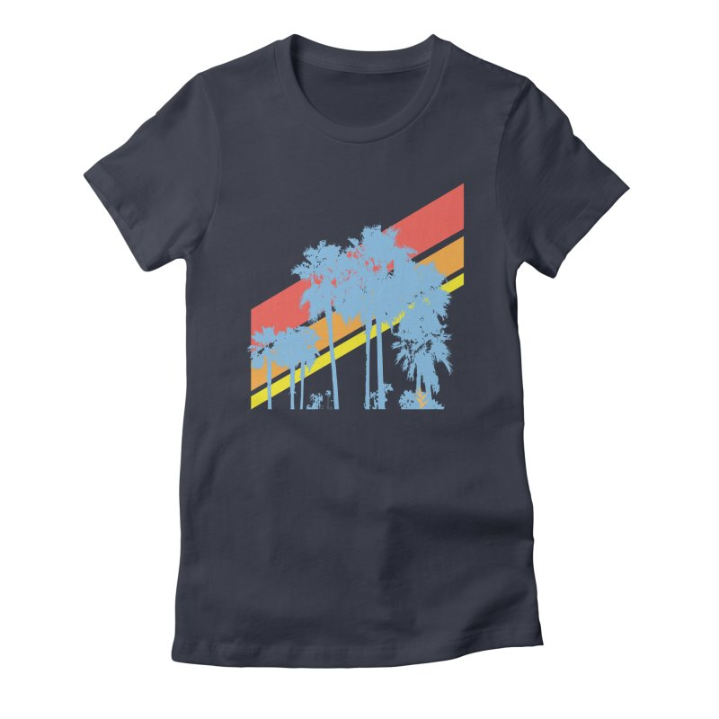 Palm Sunset Blue in Women's Fitted T-Shirt Midnight by Caribea