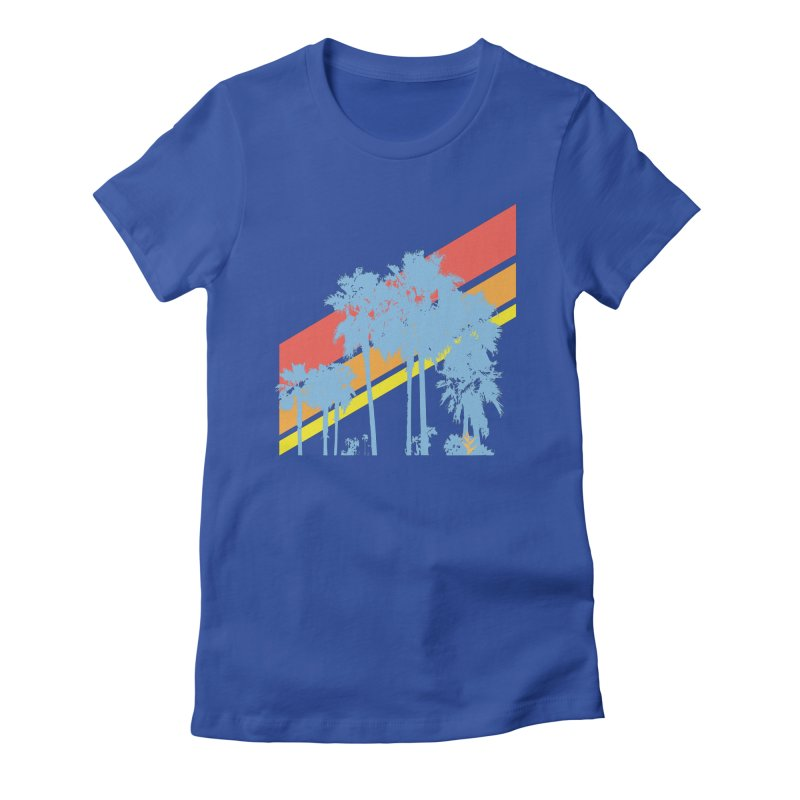 Palm Sunset Blue Women's Fitted T-Shirt by Caribea
