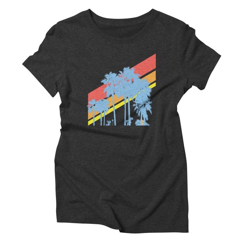 Palm Sunset Blue Women's T-Shirt by Caribea