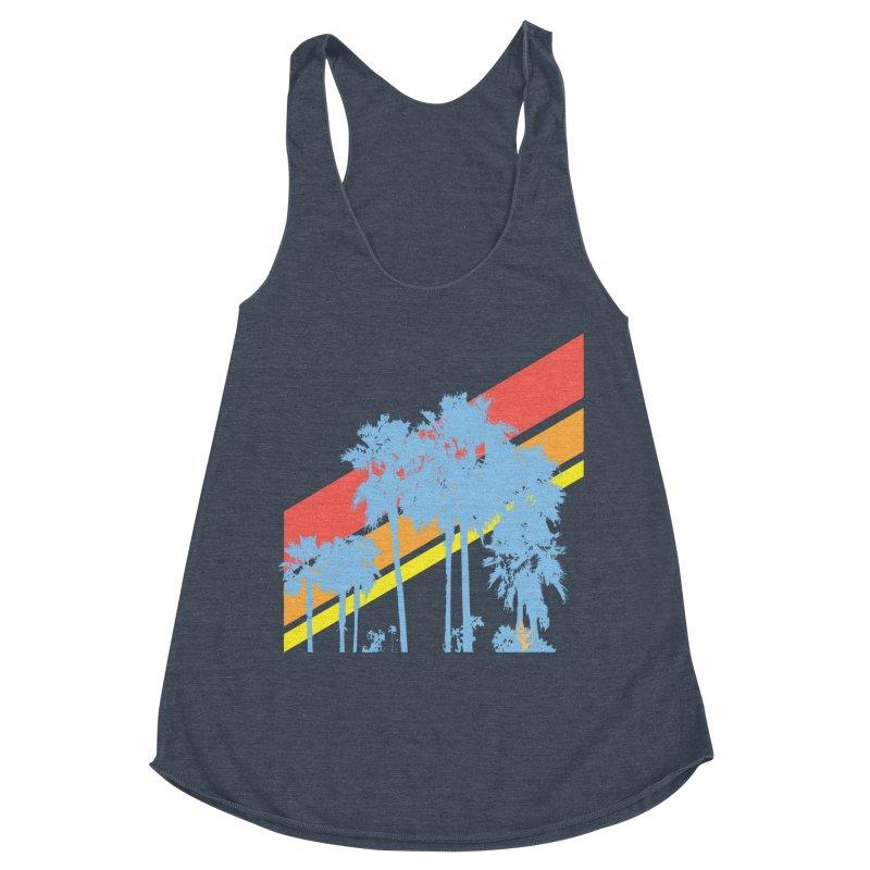 Palm Sunset Blue Women's Tank by Caribea