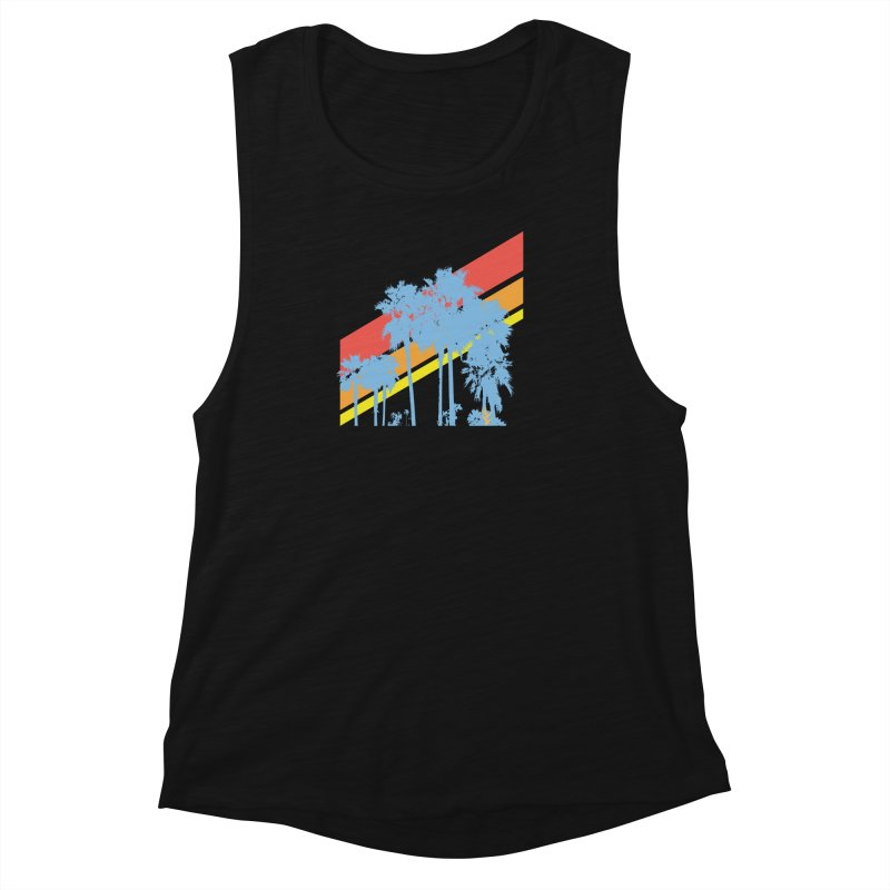 Palm Sunset Blue Women's Muscle Tank by Caribea
