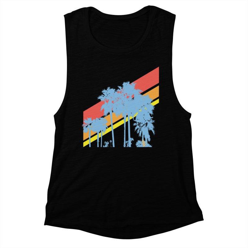 Palm Sunset Blue Women's Muscle Tank by Caribea