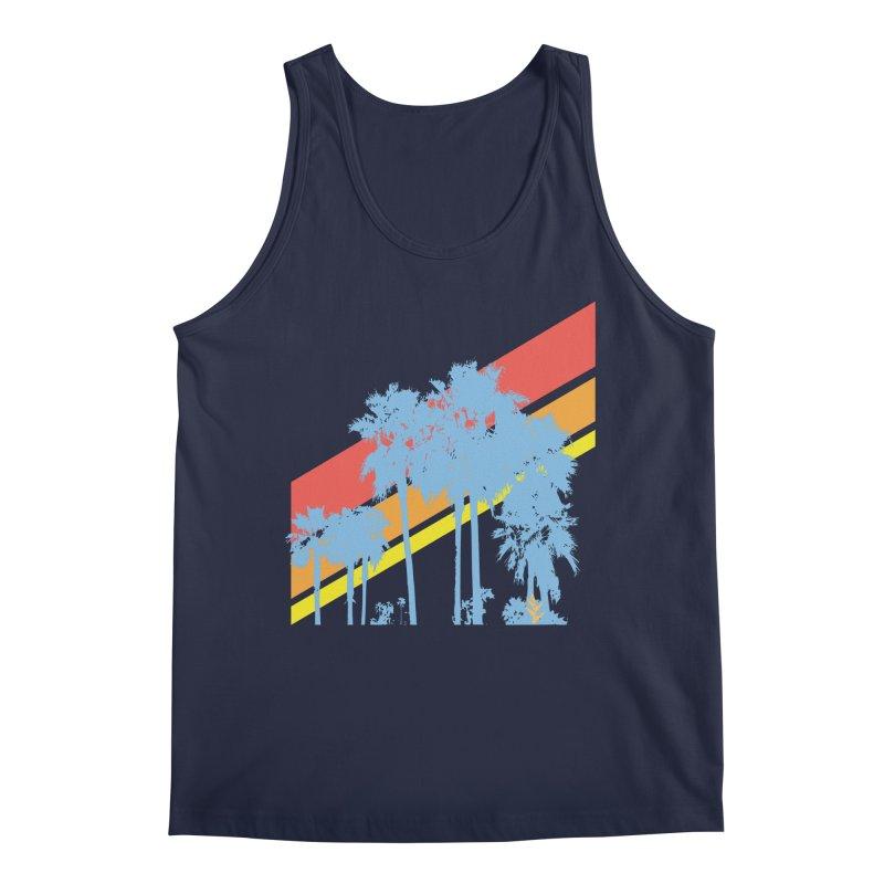 Palm Sunset Blue Men's Tank by Caribea