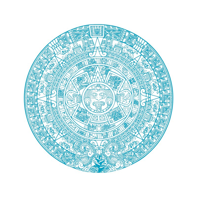 Mayan Calendar Aqua Men's T-Shirt by Caribea