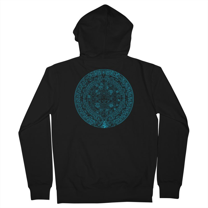 Mayan Calendar Aqua Men's Zip-Up Hoody by Caribea