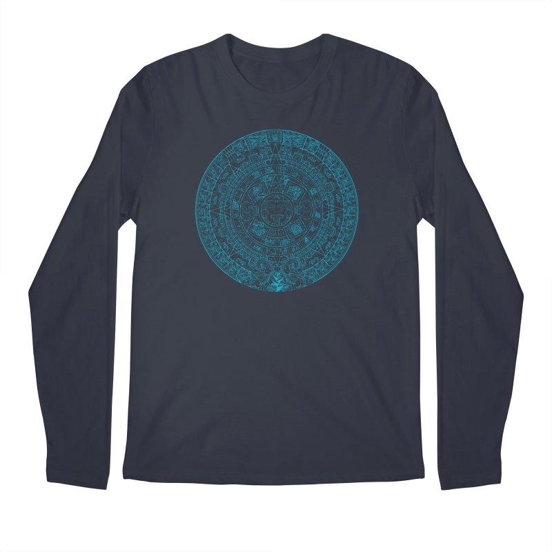 Mayan Calendar Aqua Men's Longsleeve T-Shirt by Caribea